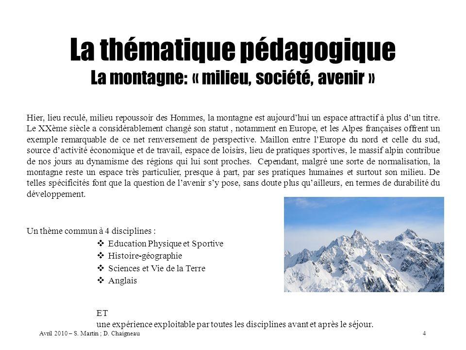 La thématique pédagogique La montagne: « milieu, société, avenir » Hier, lieu reculé, milieu repoussoir des Hommes, la montagne est aujourdhui un espa