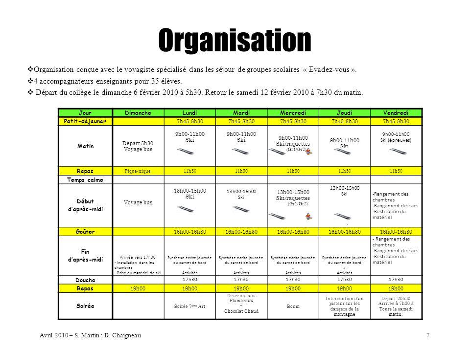 Organisation Organisation conçue avec le voyagiste spécialisé dans les séjour de groupes scolaires « Evadez-vous ». 4 accompagnateurs enseignants pour