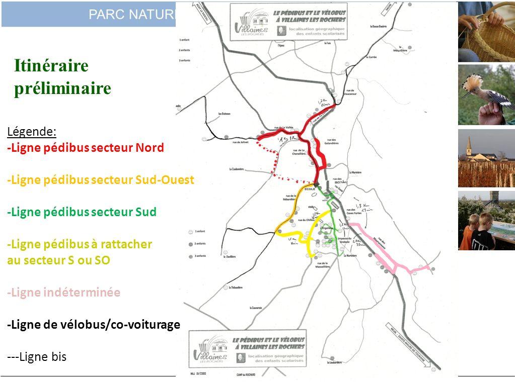 Itinéraire préliminaire Légende: -Ligne pédibus secteur Nord -Ligne pédibus secteur Sud-Ouest -Ligne pédibus secteur Sud -Ligne pédibus à rattacher au
