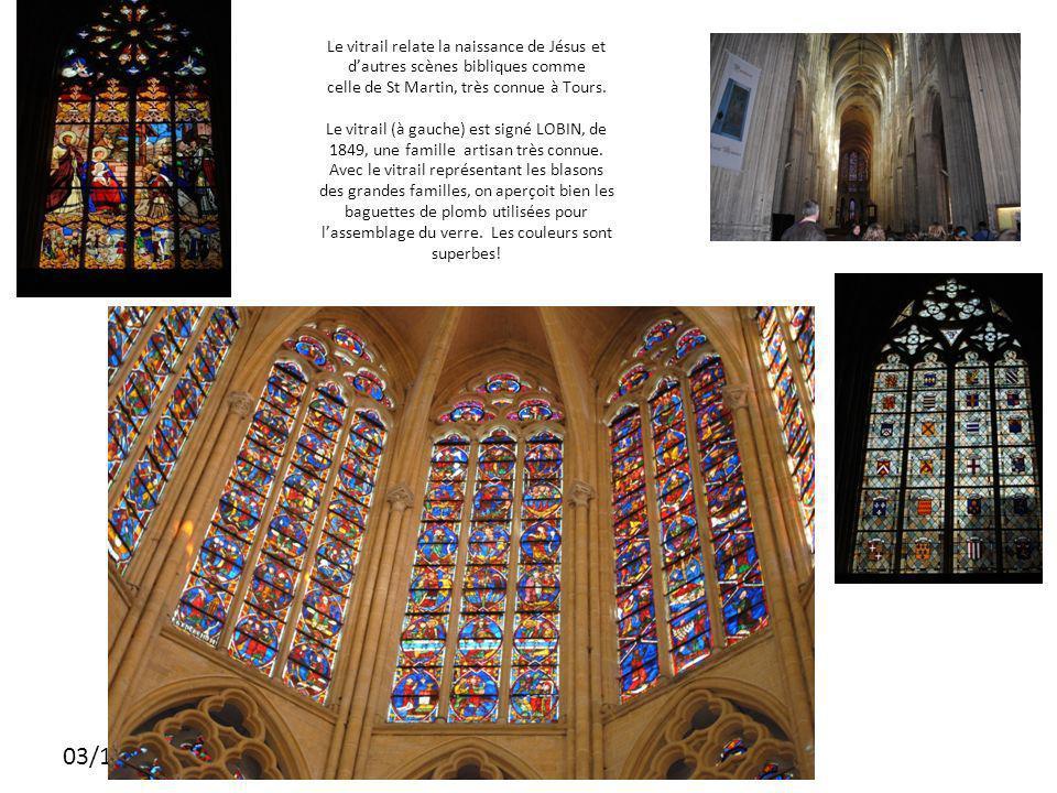 03/11/2010 Le vitrail relate la naissance de Jésus et dautres scènes bibliques comme celle de St Martin, très connue à Tours.