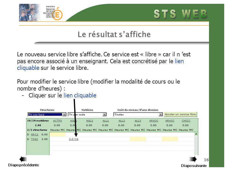 16 Le résultat saffiche Le nouveau service libre saffiche.