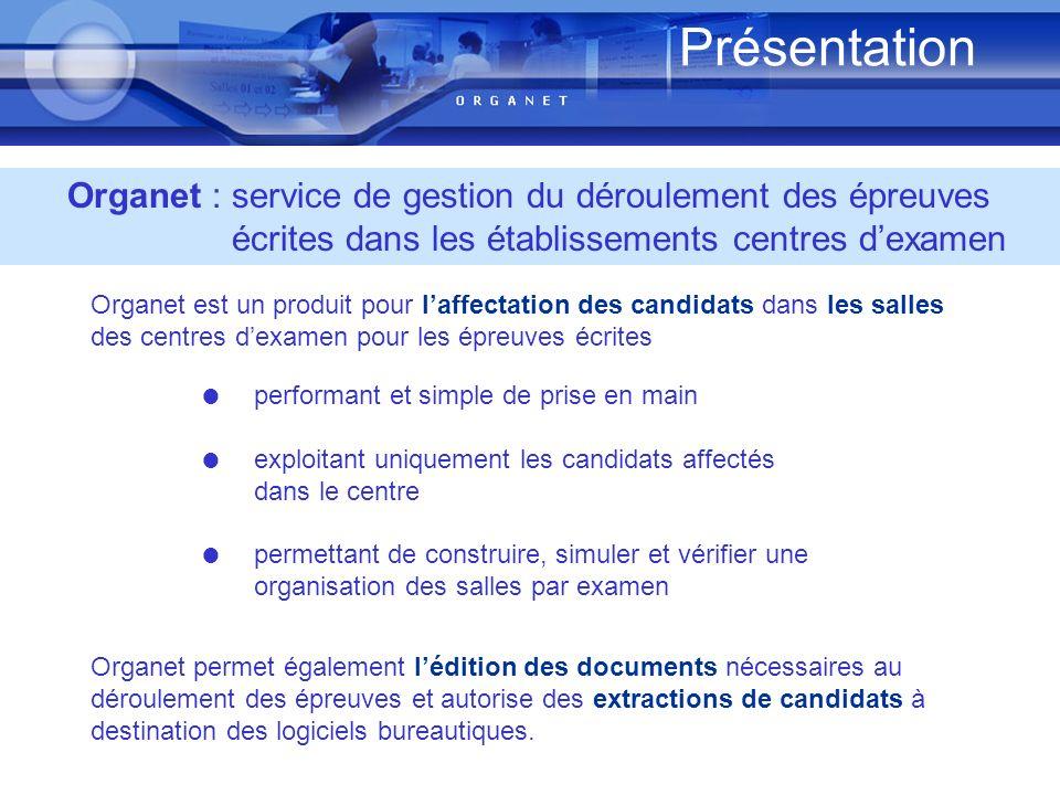 permettant de construire, simuler et vérifier une organisation des salles par examen Présentation Organet : service de gestion du déroulement des épre