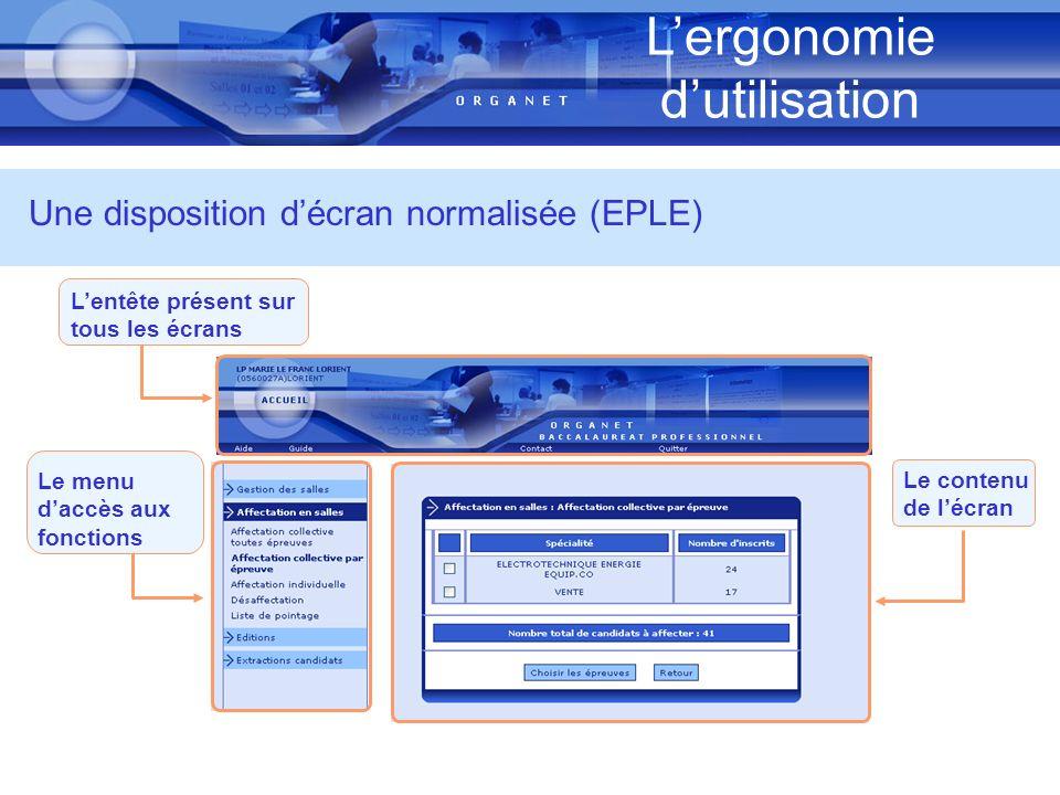 Lergonomie dutilisation Lentête présent sur tous les écrans Le menu daccès aux fonctions Une disposition décran normalisée (EPLE) Le contenu de lécran