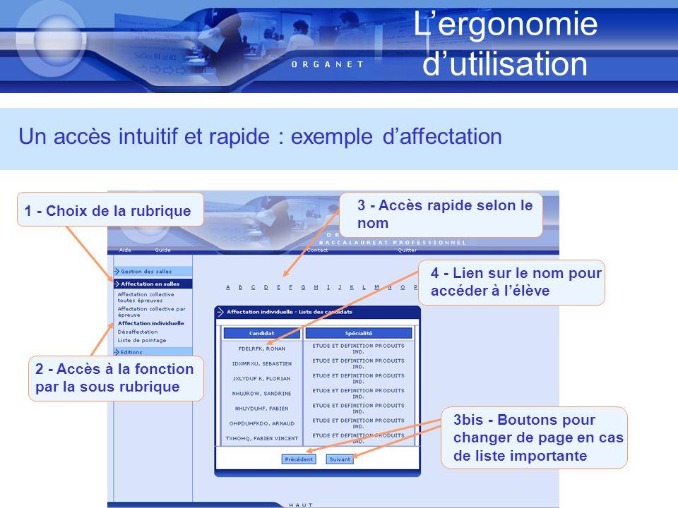 Lergonomie dutilisation Un accès intuitif et rapide : exemple daffectation 1 - Choix de la rubrique 3 - Accès rapide selon le nom 4 - Lien sur le nom