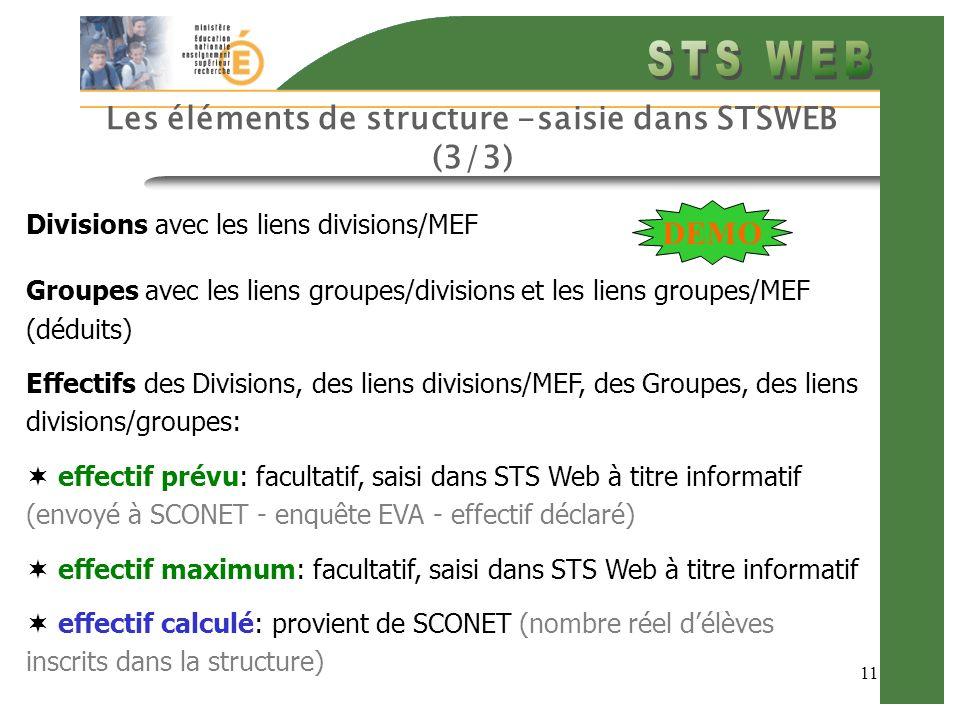 11 Les éléments de structure -saisie dans STSWEB (3/3) Divisions avec les liens divisions/MEF Groupes avec les liens groupes/divisions et les liens gr