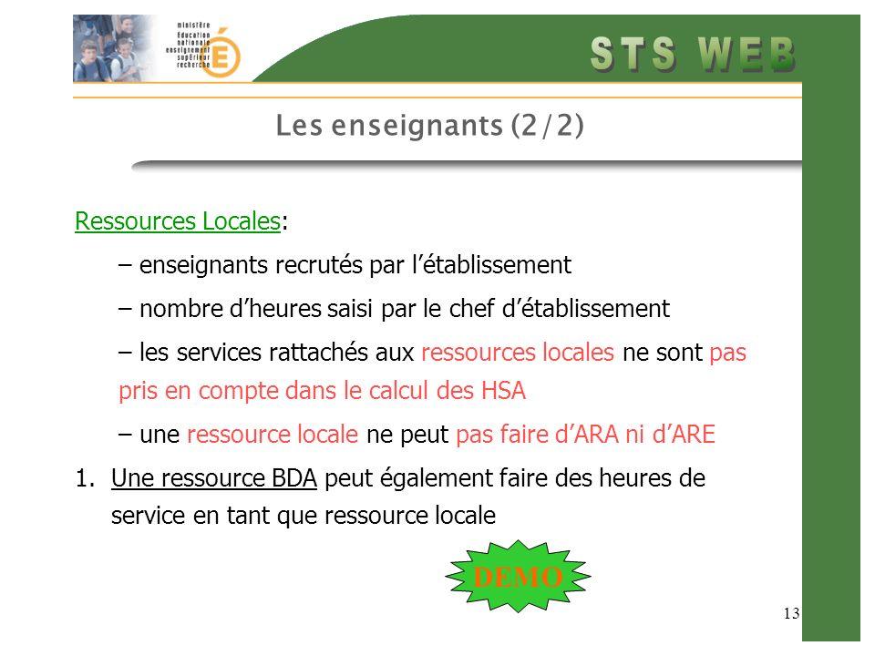 13 Les enseignants (2/2) Ressources Locales: – enseignants recrutés par létablissement – nombre dheures saisi par le chef détablissement – les service