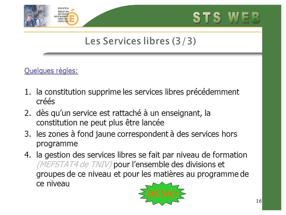 16 Les Services libres (3/3) Quelques règles: 1.la constitution supprime les services libres précédemment créés 2.dès quun service est rattaché à un e