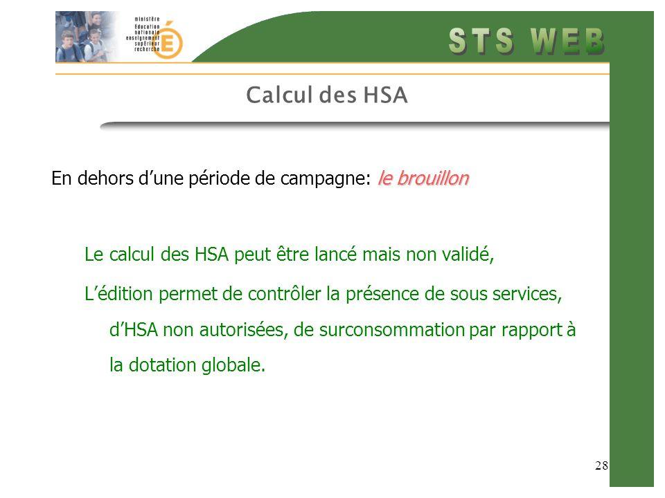 28 Calcul des HSA le brouillon En dehors dune période de campagne: le brouillon Le calcul des HSA peut être lancé mais non validé, Lédition permet de