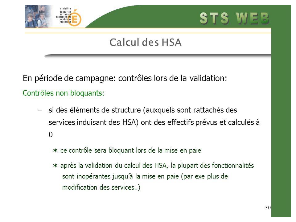 30 Calcul des HSA En période de campagne: contrôles lors de la validation: Contrôles non bloquants: –si des éléments de structure (auxquels sont ratta