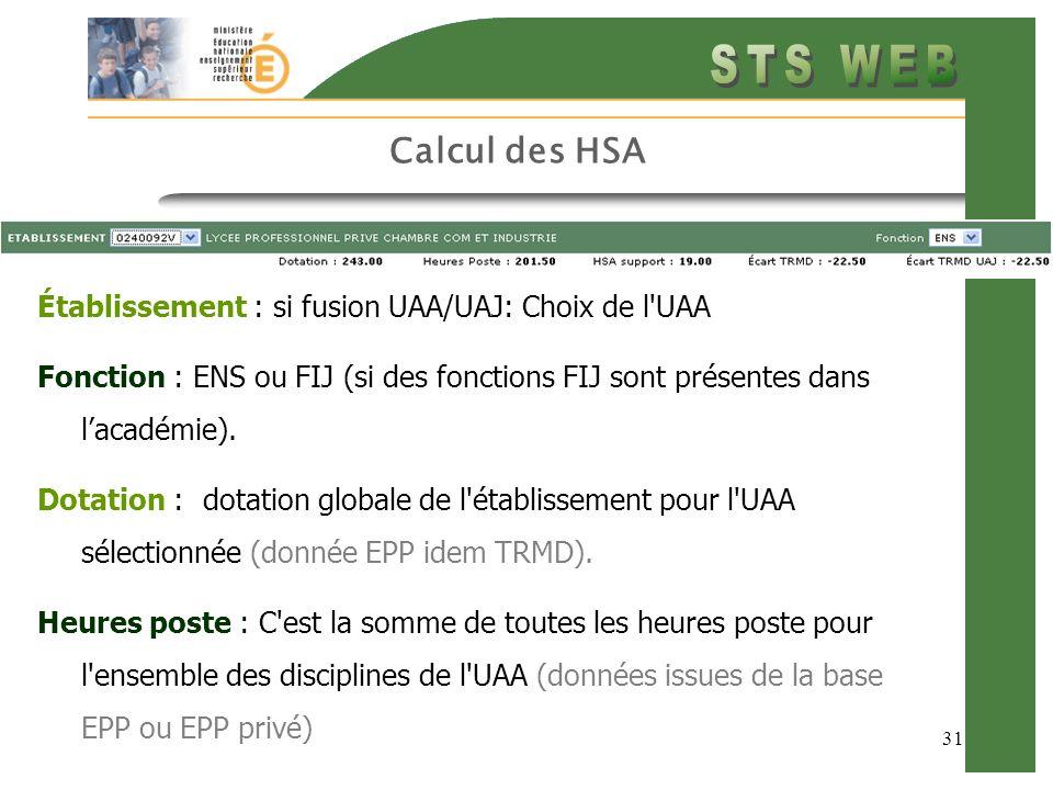 31 Calcul des HSA Établissement : si fusion UAA/UAJ: Choix de l'UAA Fonction : ENS ou FIJ (si des fonctions FIJ sont présentes dans lacadémie). Dotati