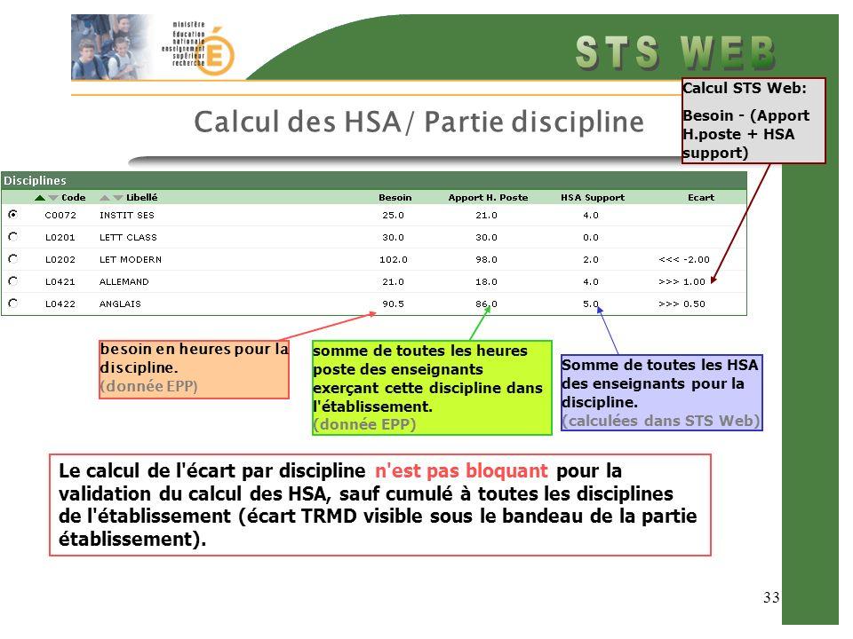 33 Calcul des HSA/ Partie discipline besoin en heures pour la discipline. (donnée EPP ) somme de toutes les heures poste des enseignants exerçant cett