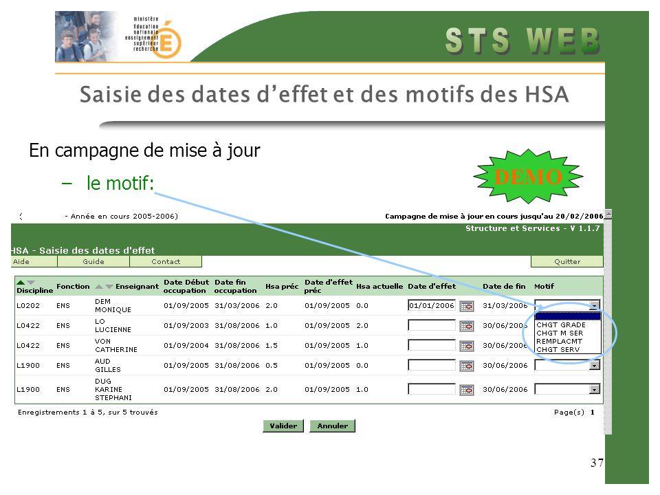 37 Saisie des dates deffet et des motifs des HSA En campagne de mise à jour –le motif: DEMO