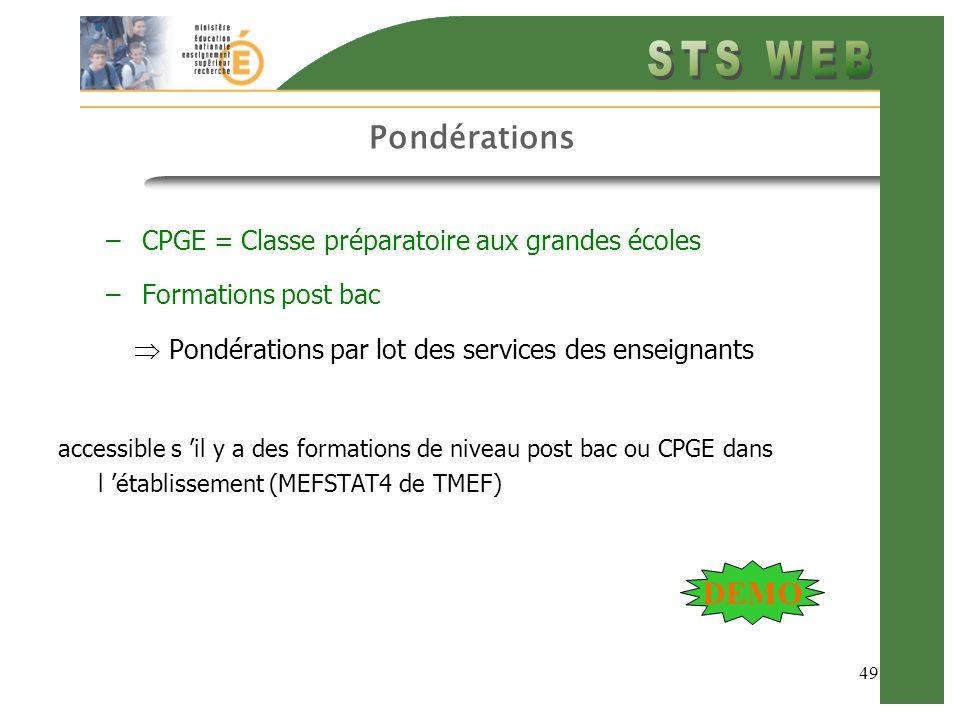 49 Pondérations –CPGE = Classe préparatoire aux grandes écoles –Formations post bac Pondérations par lot des services des enseignants accessible s il