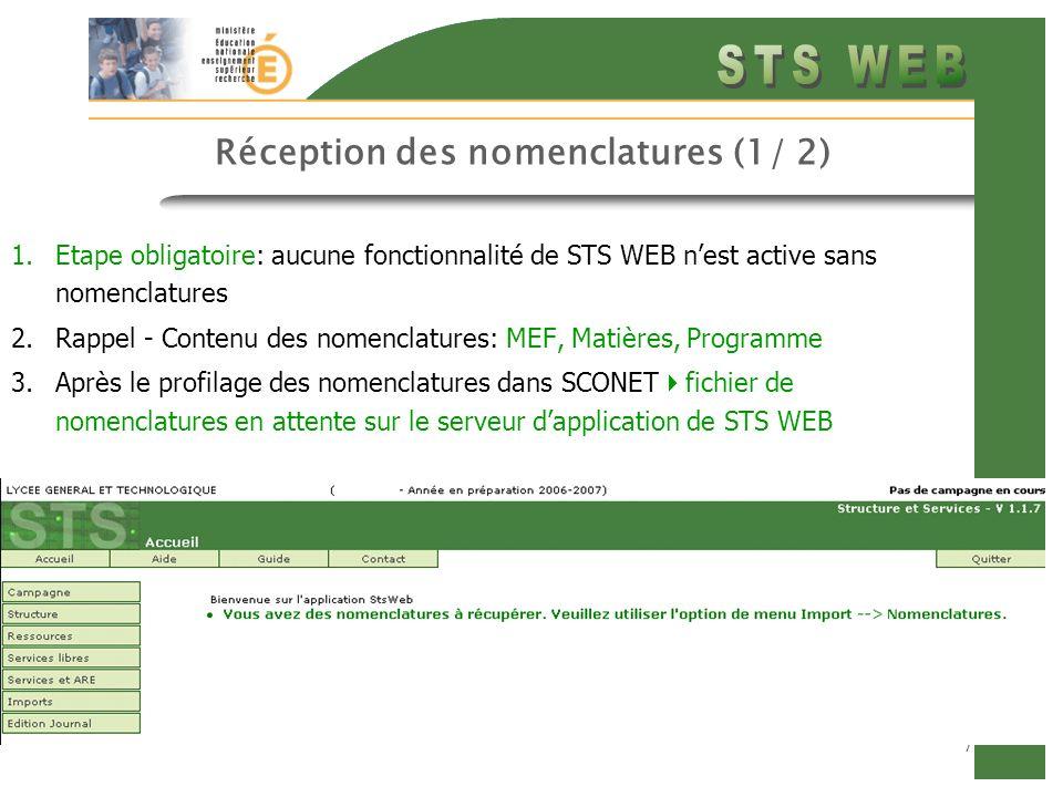 7 Réception des nomenclatures (1/ 2) 1.Etape obligatoire: aucune fonctionnalité de STS WEB nest active sans nomenclatures 2.Rappel - Contenu des nomen
