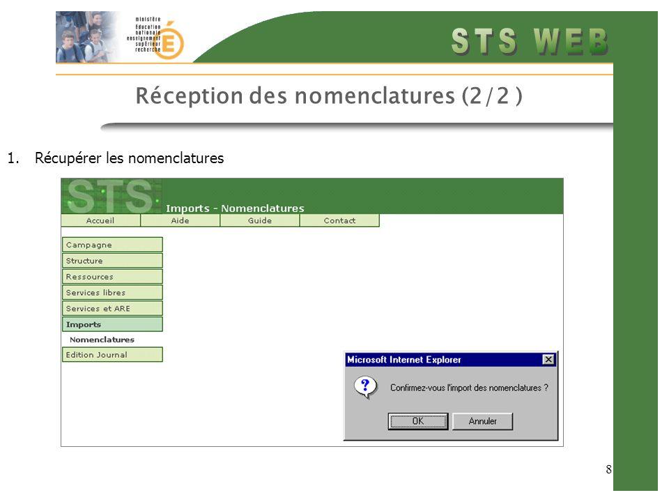 8 Réception des nomenclatures (2/2 ) 1.Récupérer les nomenclatures