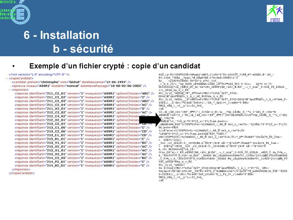 6 - Installation b - sécurité Des codes dactivation pour lancer les installations Installation Admin@SSR Installation Epreuve@SSR Des clés de cryptages fournies à létablissement par courrier sécurisé