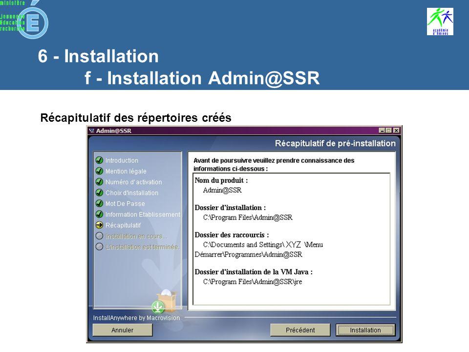 6 - Installation f - Installation Admin@SSR Définition de létablissement Ministère de rattachement Nom de létablissement Académie Numéro du département Type détablissement