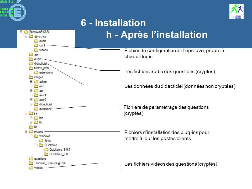 6 - Installation g - installation Epreuve@SSR Pour que linstallation soit complète, il faut… les fichiers questions et multimédia ne pas oublier dinstaller les CD Multimédia les plug-in Java et QuickTime dans les versions fournies supprimer toute autre version avant linstallation un navigateur compatible avec lapplication
