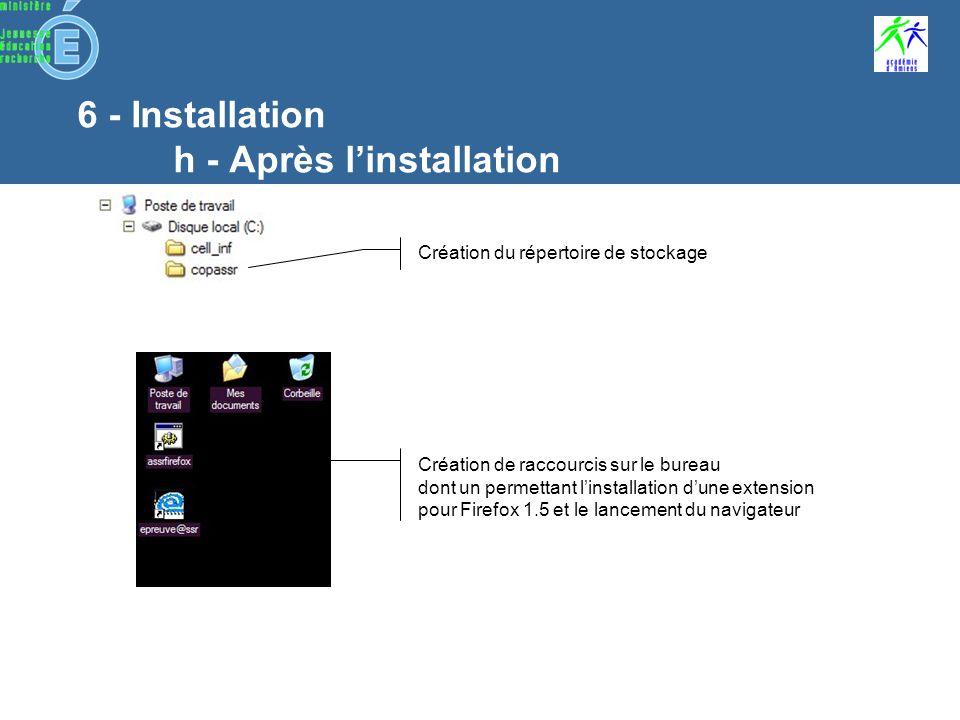6 - Installation h - Après linstallation Les fichiers audio des questions (cryptés) Les données du didacticiel (données non cryptées) Fichiers dinstallation des plug-ins pour mettre à jour les postes clients Fichiers de paramétrage des questions (cryptés) Les fichiers vidéos des questions (cryptés) Fichier de configuration de lépreuve, propre à chaque login
