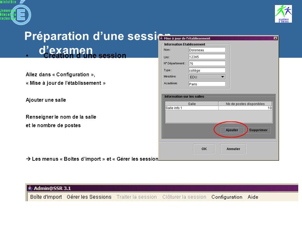 Préparation dune session dexamen 1ère connexion Personnalisation du mot de passe (6 caractères) Un seul menu actif : « Configuration » Allez dans le menu « Configuration » pour configurer : –les salles de létablissement –les clefs de chiffrements