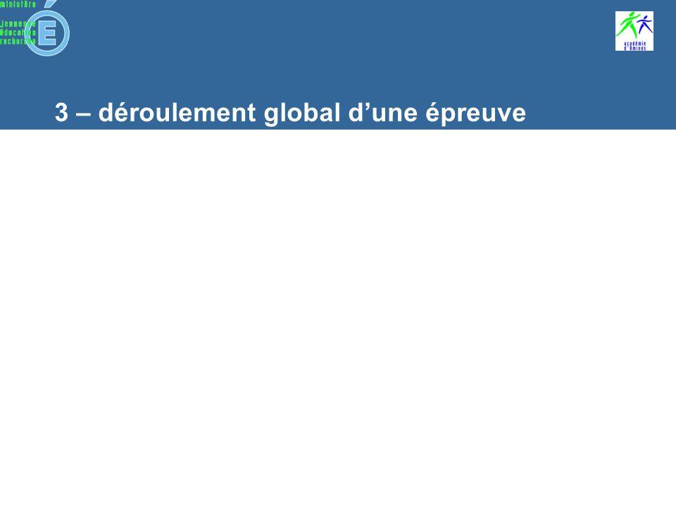 3 – déroulement global dune épreuve