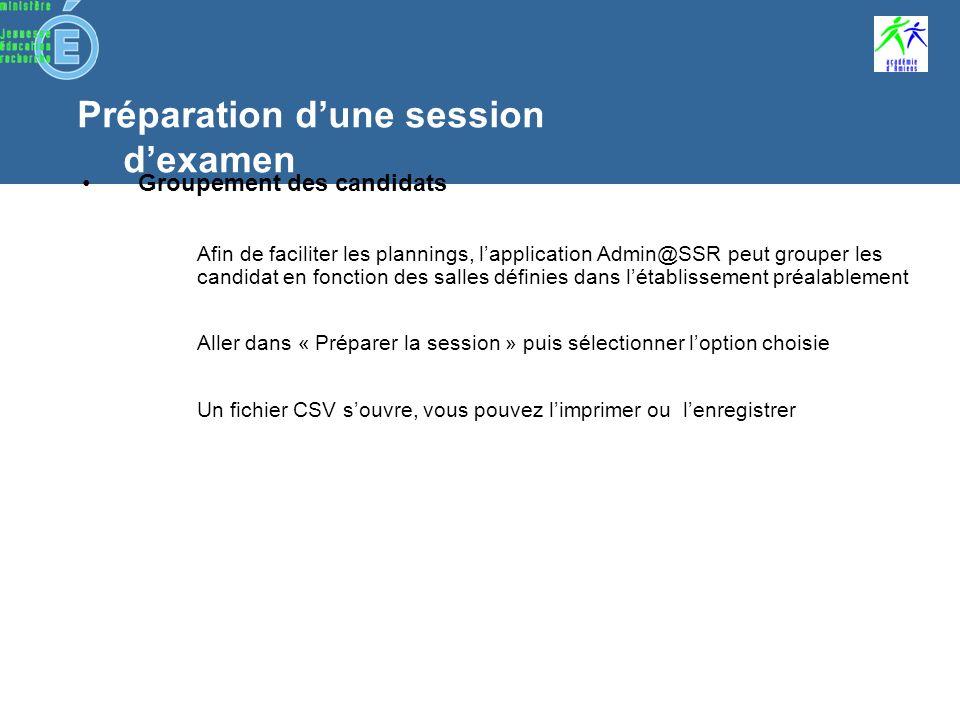 Préparation dune session dexamen Présentation du format CSV le format CSV est semblable au format Excel un fichier CSV présente un ensemble de lignes dont chacune correspond à un enregistrement les données sont séparées par un « ; »