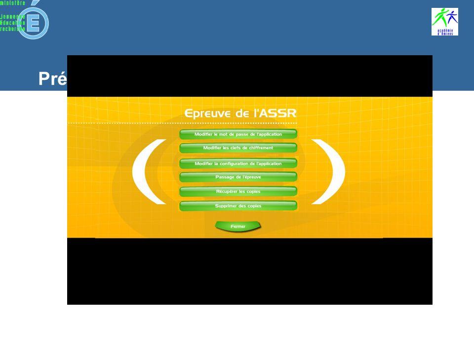 Préparation dune épreuve Lancement de lapplication Cliquez sur le lien créé sur le bureau Utiliser le lien spécifique pour Firefox : installation dune extension pour un véritable plein écran Mode serveur : lancez le navigateur Internet et tapez ladresse du serveur « http://nom_du_poste_serveur/html » ATTENTION : ne pas laisser le clavier à portée de main (Alt + tab, Alt + F4…)