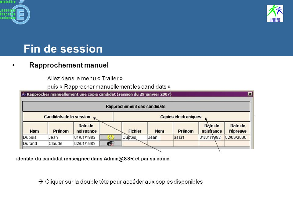 Fin de session Affectations des copies aux candidats Lapplication compare automatiquement le nom, prénom, date de naissance et niveau ASSR du candidat inscrit à ceux définis par sa copie –Si les données concordent, lapplication affecte automatiquement la copie au candidat –Sinon, la copie sera à rapprocher manuellement au candidat