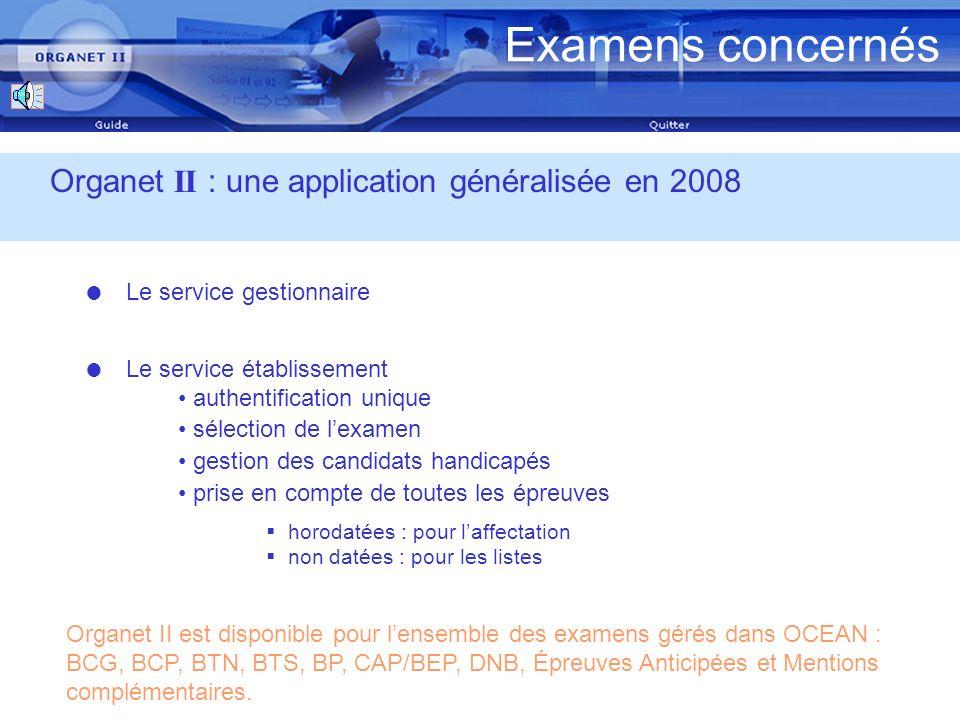 Examens concernés Organet II : une application généralisée en 2008 Le service gestionnaire Organet II est disponible pour lensemble des examens gérés dans OCEAN : BCG, BCP, BTN, BTS, BP, CAP/BEP, DNB, Épreuves Anticipées et Mentions complémentaires.