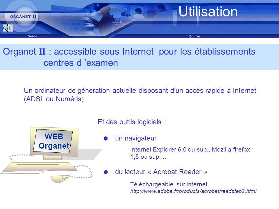 Examens concernés Organet II : une application généralisée en 2008 Le service gestionnaire Organet II est disponible pour lensemble des examens gérés