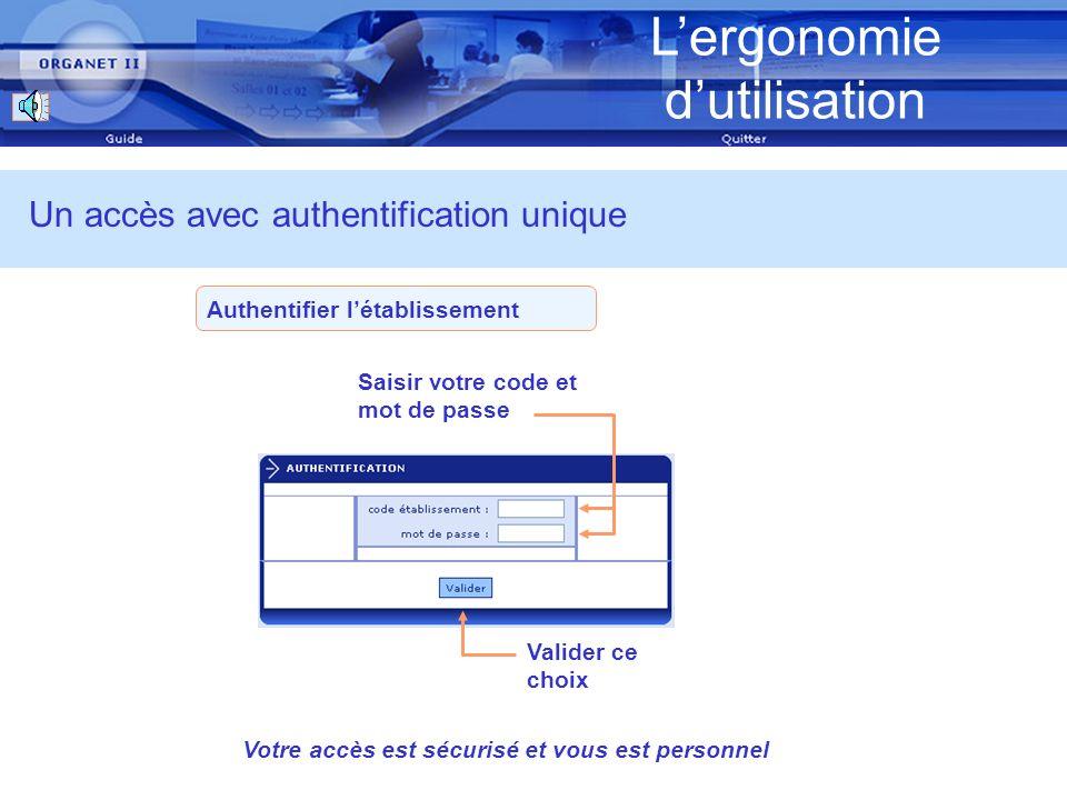 Lergonomie dutilisation Authentifier létablissement Un accès avec authentification unique Saisir votre code et mot de passe Valider ce choix Votre accès est sécurisé et vous est personnel