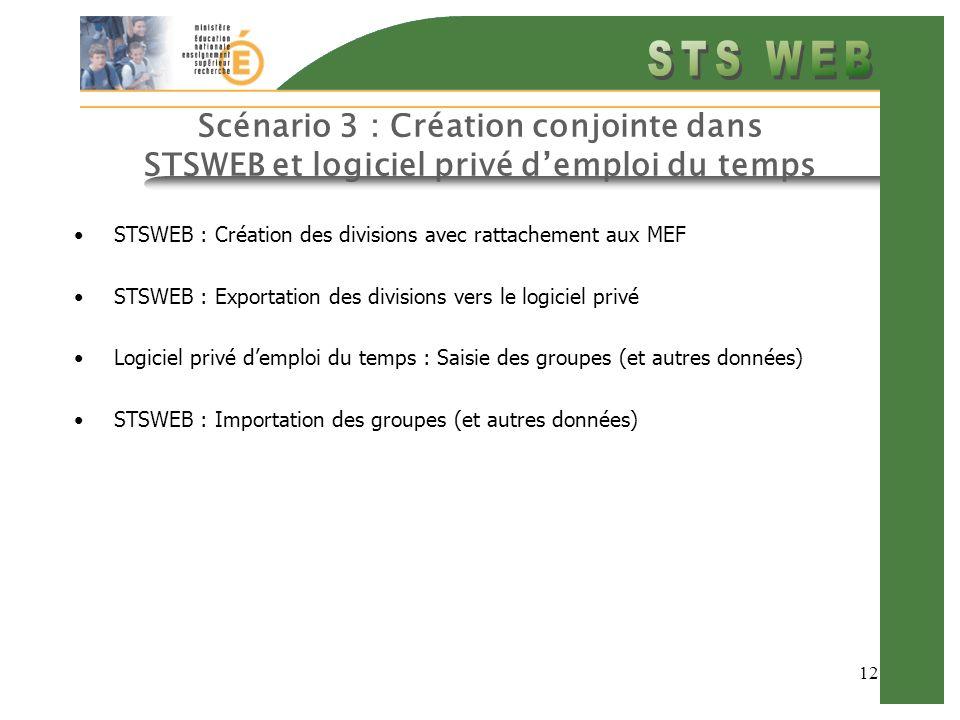 12 Scénario 3 : Création conjointe dans STSWEB et logiciel privé demploi du temps STSWEB : Création des divisions avec rattachement aux MEF STSWEB : Exportation des divisions vers le logiciel privé Logiciel privé demploi du temps : Saisie des groupes (et autres données) STSWEB : Importation des groupes (et autres données)