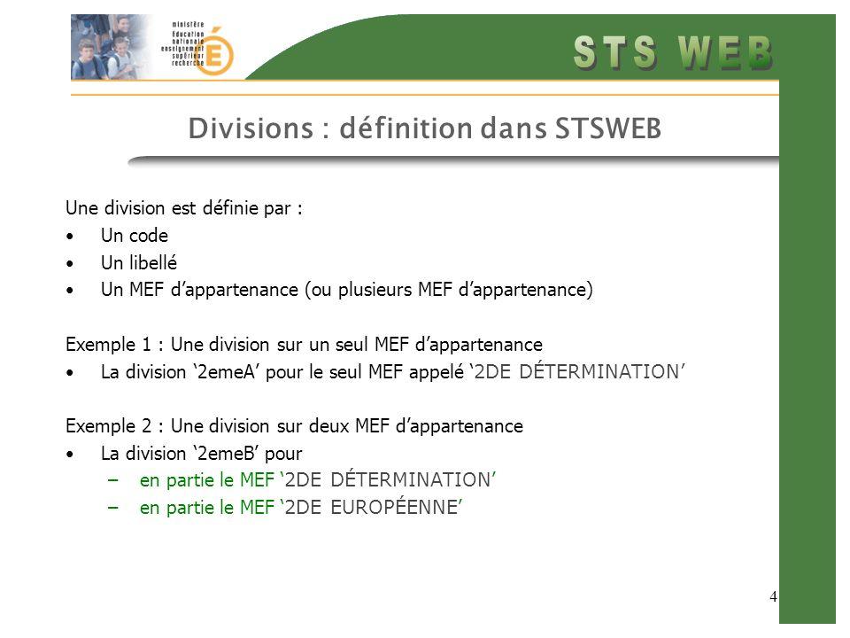 4 Divisions : définition dans STSWEB Une division est définie par : Un code Un libellé Un MEF dappartenance (ou plusieurs MEF dappartenance) Exemple 1 : Une division sur un seul MEF dappartenance La division 2emeA pour le seul MEF appelé 2DE DÉTERMINATION Exemple 2 : Une division sur deux MEF dappartenance La division 2emeB pour –en partie le MEF 2DE DÉTERMINATION –en partie le MEF 2DE EUROPÉENNE