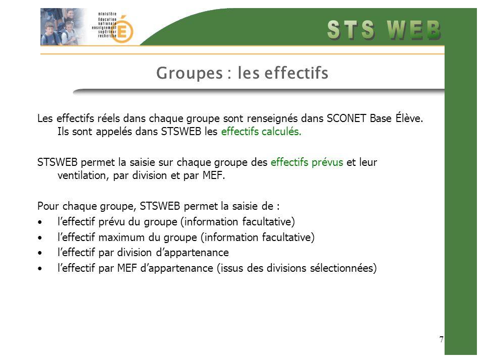 7 Groupes : les effectifs Les effectifs réels dans chaque groupe sont renseignés dans SCONET Base Élève.