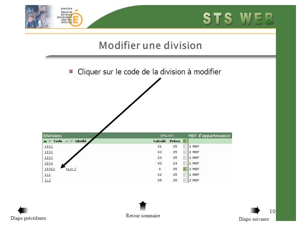 10 Cliquer sur le code de la division à modifier Retour sommaire Diapo précédente Diapo suivante Modifier une division