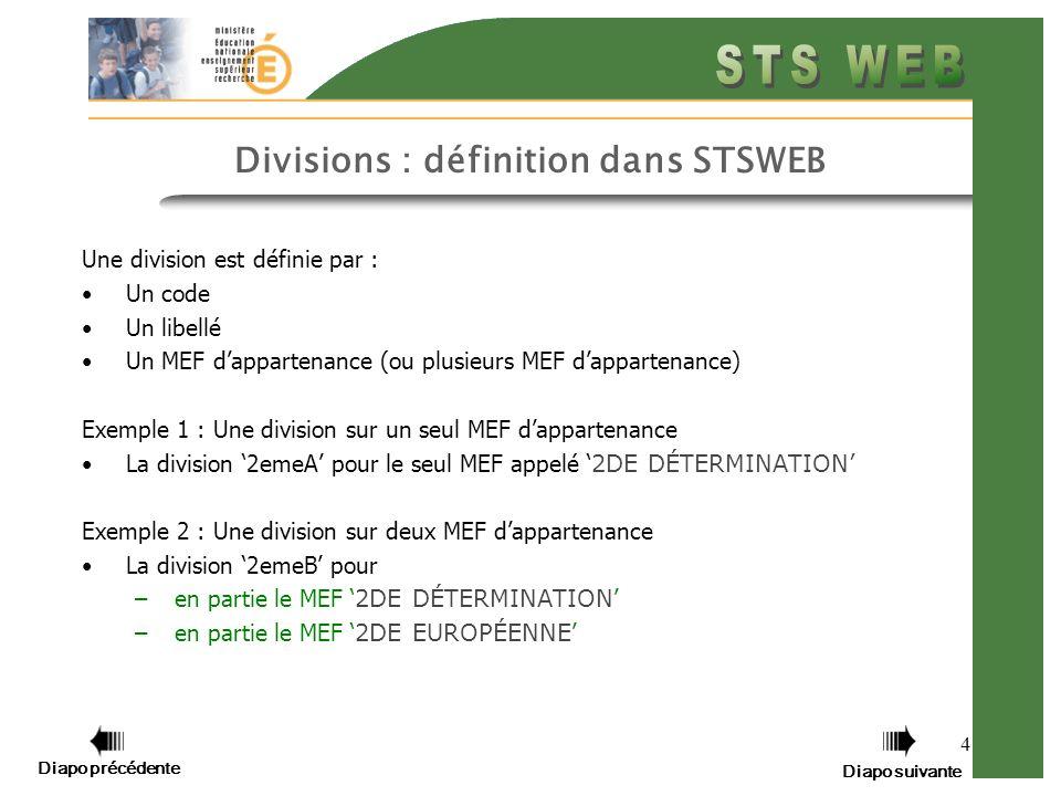 4 Divisions : définition dans STSWEB Une division est définie par : Un code Un libellé Un MEF dappartenance (ou plusieurs MEF dappartenance) Exemple 1 : Une division sur un seul MEF dappartenance La division 2emeA pour le seul MEF appelé 2DE DÉTERMINATION Exemple 2 : Une division sur deux MEF dappartenance La division 2emeB pour –en partie le MEF 2DE DÉTERMINATION –en partie le MEF 2DE EUROPÉENNE Diapo précédente Diapo suivante