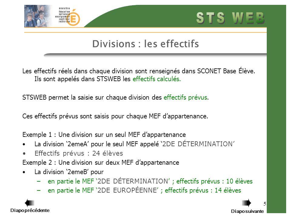 5 Divisions : les effectifs Les effectifs réels dans chaque division sont renseignés dans SCONET Base Élève.