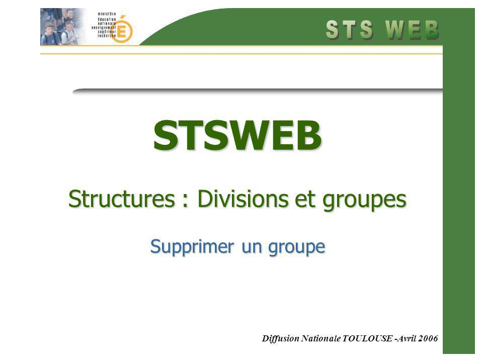 Diffusion Nationale TOULOUSE -Avril 2006 STSWEB Structures : Divisions et groupes Supprimer un groupe