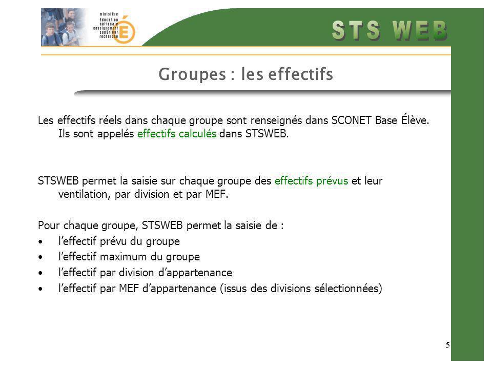 5 Groupes : les effectifs Les effectifs réels dans chaque groupe sont renseignés dans SCONET Base Élève. Ils sont appelés effectifs calculés dans STSW