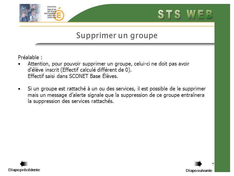 7 Supprimer un groupe Préalable : Attention, pour pouvoir supprimer un groupe, celui-ci ne doit pas avoir d élève inscrit (Effectif calculé différent de 0).
