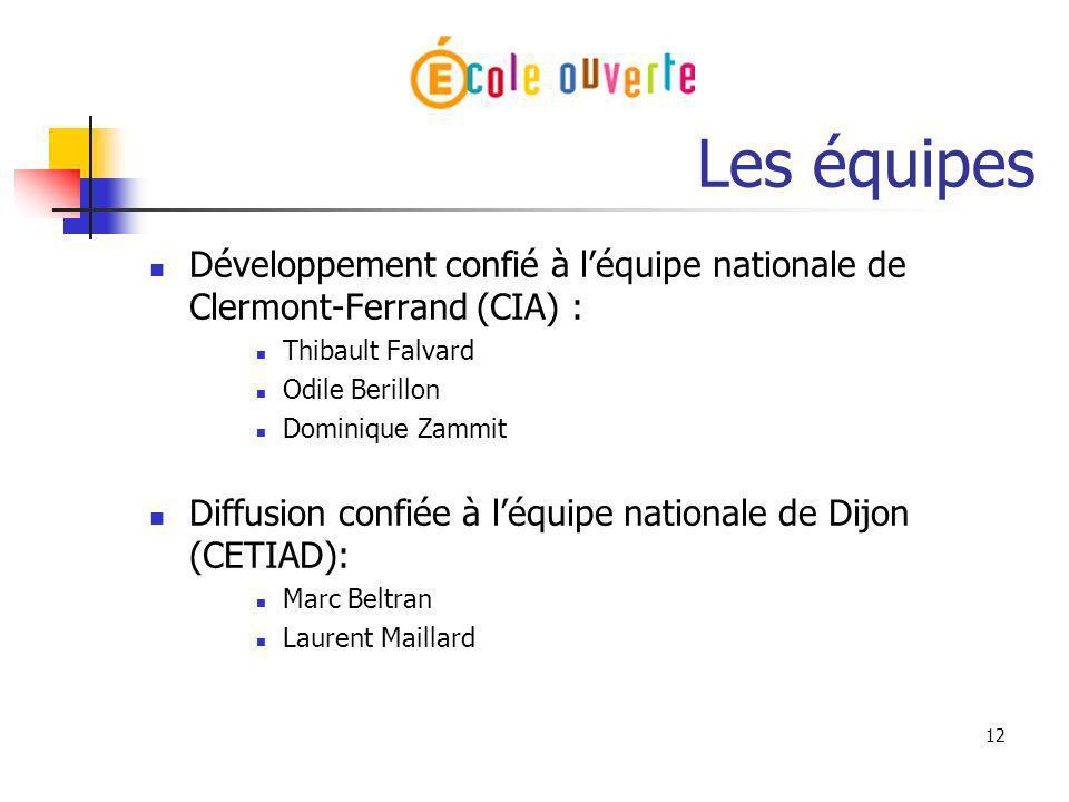 12 Les équipes Développement confié à léquipe nationale de Clermont-Ferrand (CIA) : Thibault Falvard Odile Berillon Dominique Zammit Diffusion confiée