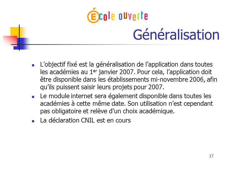 17 Généralisation Lobjectif fixé est la généralisation de lapplication dans toutes les académies au 1 er janvier 2007. Pour cela, lapplication doit êt