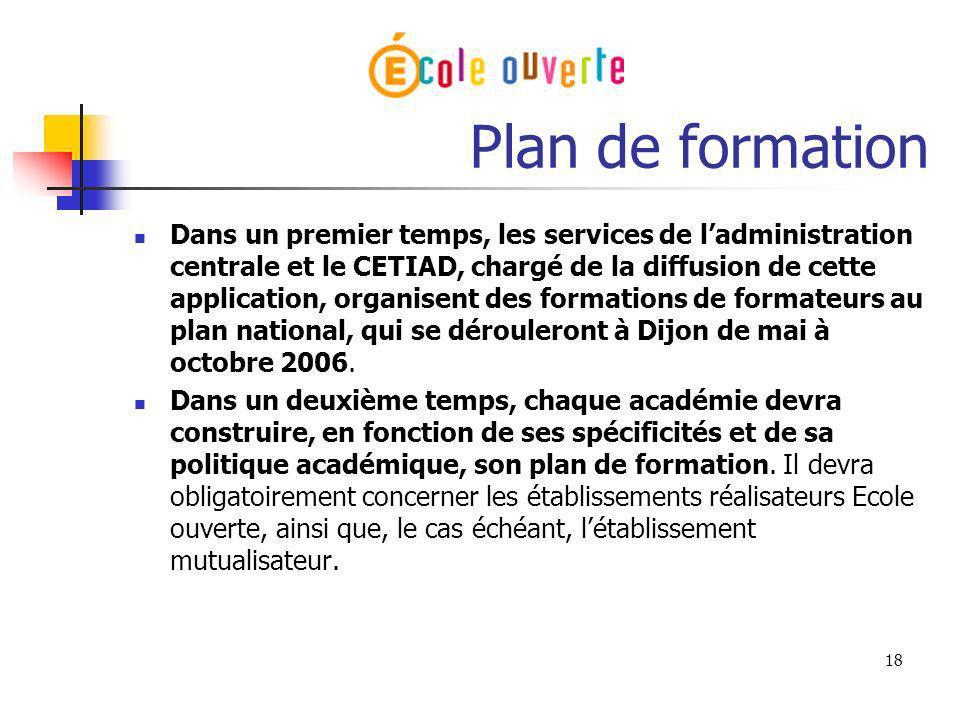 18 Plan de formation Dans un premier temps, les services de ladministration centrale et le CETIAD, chargé de la diffusion de cette application, organi