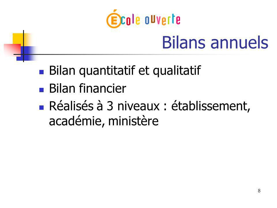 8 Bilans annuels Bilan quantitatif et qualitatif Bilan financier Réalisés à 3 niveaux : établissement, académie, ministère