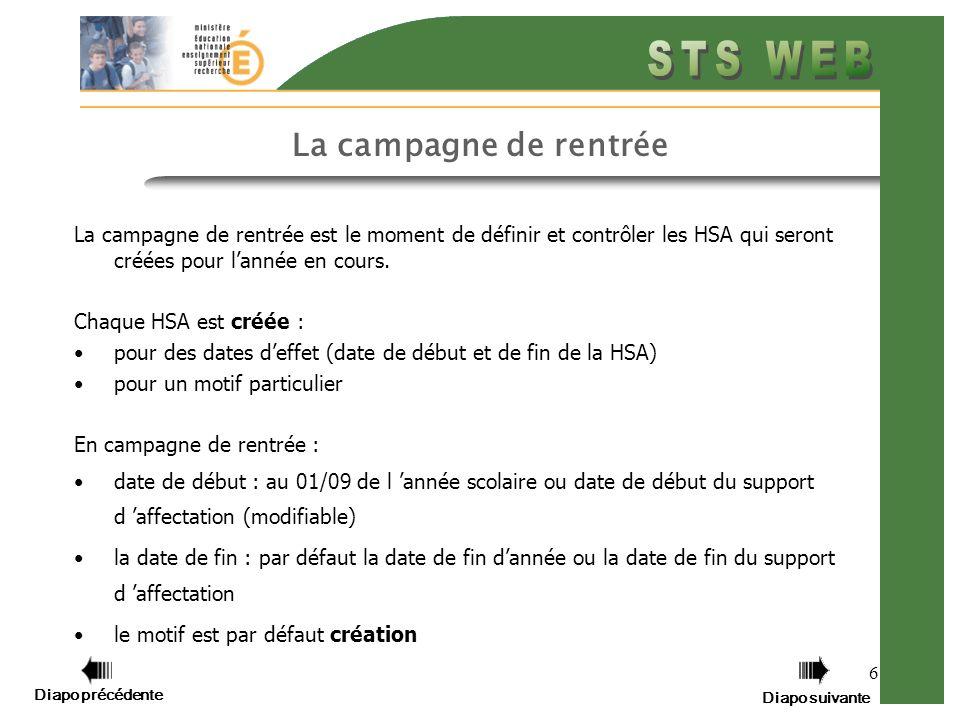 Diapo précédente Diapo suivante 6 La campagne de rentrée La campagne de rentrée est le moment de définir et contrôler les HSA qui seront créées pour lannée en cours.