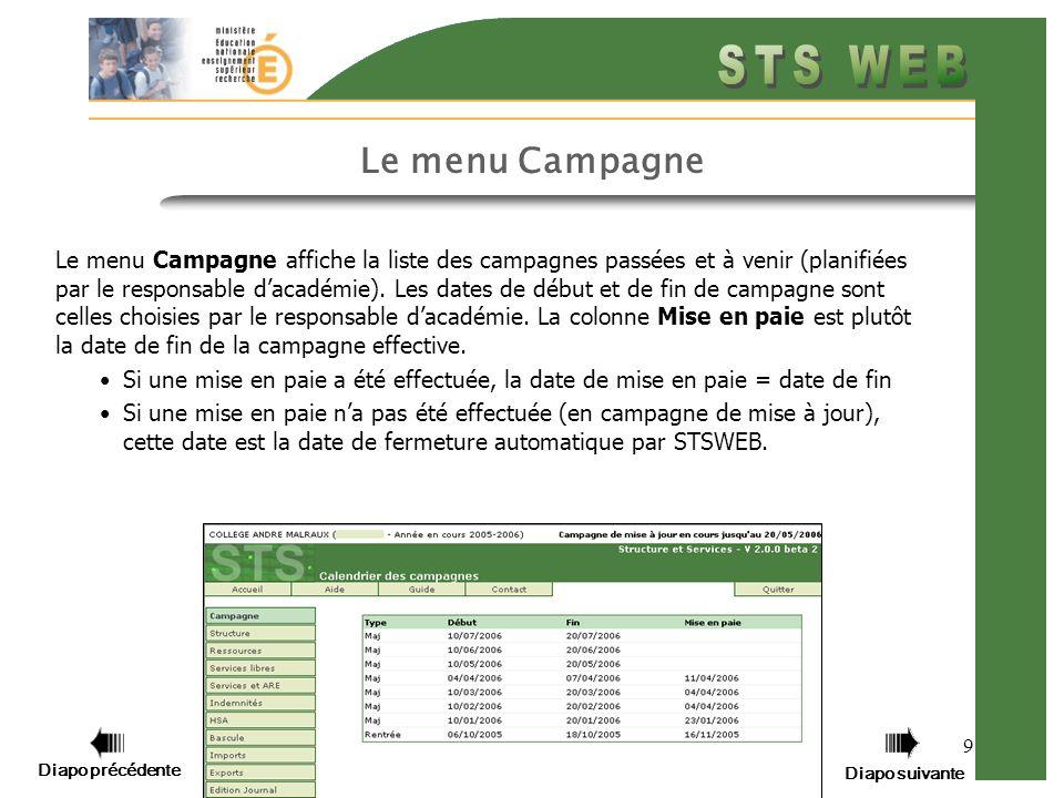 Diapo précédente Diapo suivante 9 Le menu Campagne Le menu Campagne affiche la liste des campagnes passées et à venir (planifiées par le responsable dacadémie).