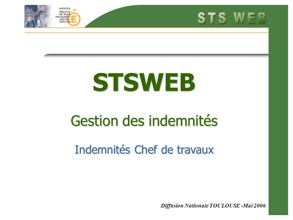 Diffusion Nationale TOULOUSE -Mai 2006 STSWEB Gestion des indemnités Indemnités Chef de travaux