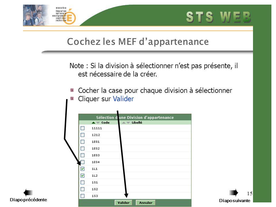 15 Cochez les MEF dappartenance Note : Si la division à sélectionner nest pas présente, il est nécessaire de la créer.