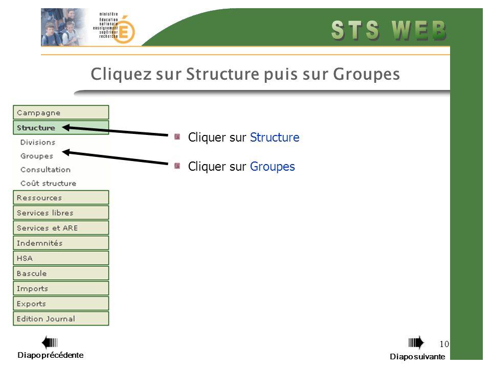 10 Cliquer sur Structure Cliquer sur Groupes Diapo précédente Diapo suivante Cliquez sur Structure puis sur Groupes