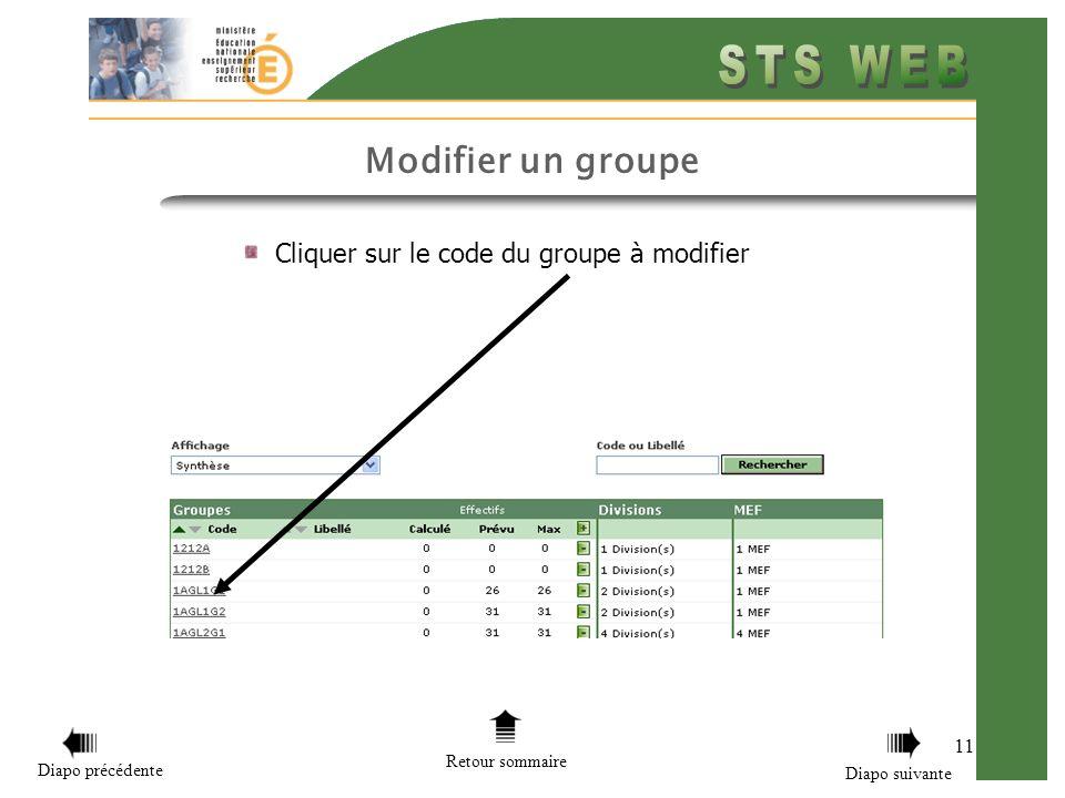 11 Cliquer sur le code du groupe à modifier Retour sommaire Diapo précédente Diapo suivante Modifier un groupe